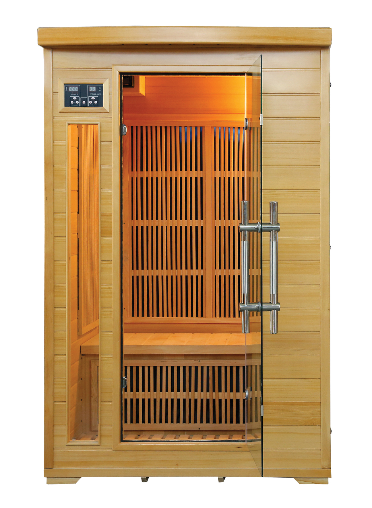 SAUNA Model: LM-F02 Size:1200*1200*1900(mm)Wood: Canadian Hemlock. Heater: 7 Carbon Heater. Power: 1760 W Capacity: 2 Persons. INFRARROJOS