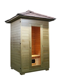 SAUNA EXTERIOR Model: LM-H02 Size:1200*1050*2500(mm) Wood: Canadian Hemlock. Heater: Ceramic Heater 5 units. Power: 1750 W Capacity: 2 Persons. 18-65ºC