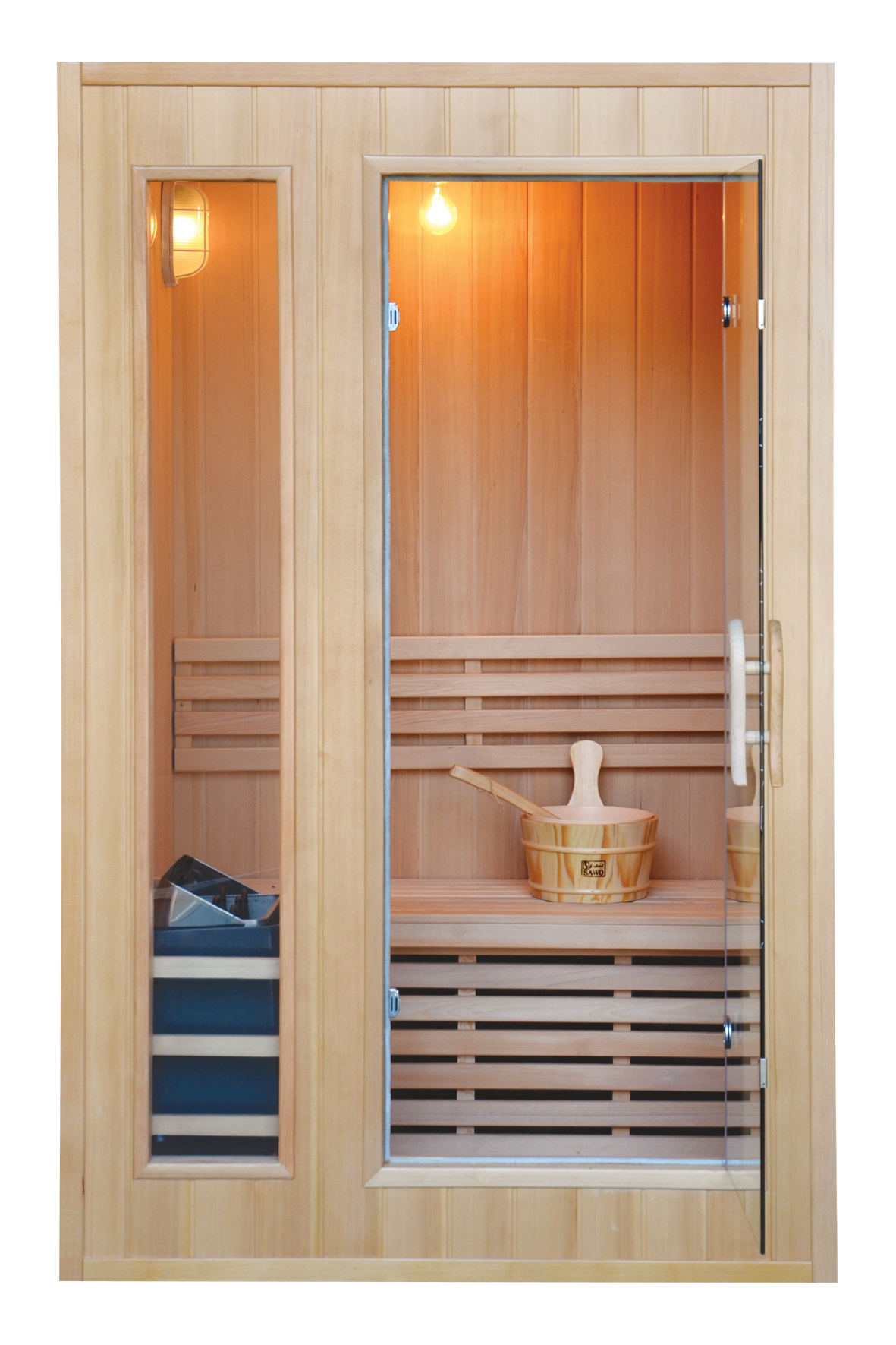 SAUNA Model: LM-S02 Size:1200*1100*1900(mm)Wood: Canadian HemlockHeater: Sawo Stove + Stones. Power: 3000 W Capacity: 2 Persons