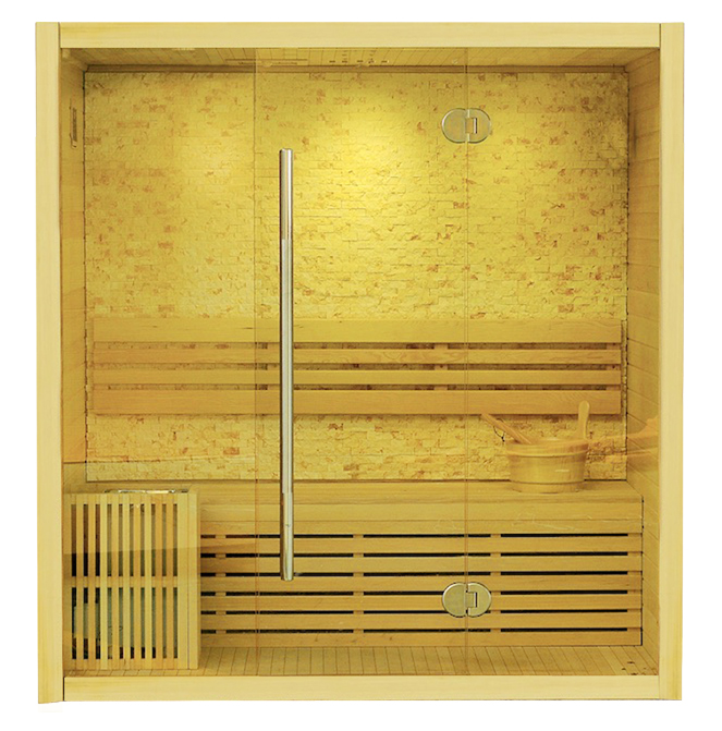 SAUNA Model: LM-T02 (B)Size:1500*1050*1900(mm)Wood: Canadian HemlockHeater: Sawo Stove + StonesPower: 4500WCapacity: 3 Persons